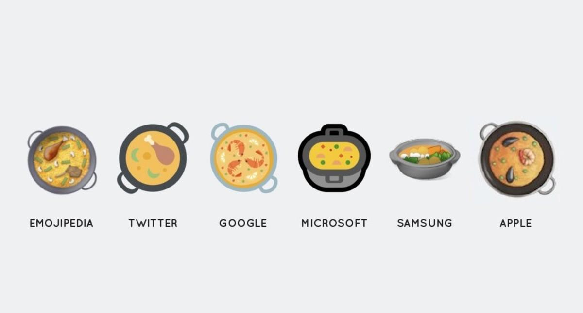 El diseño del #paellaemoji en los diferentes dipositivos